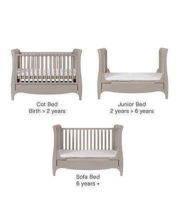 roma sleigh cot bed with under bed drawer - truffle grey