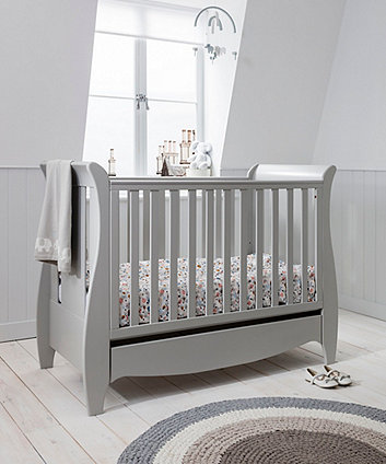 roma space saver sleigh cot bed with under bed drawer - dove grey