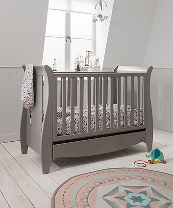 roma space saver sleigh cot bed with under bed drawer - truffle grey