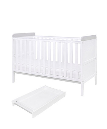 rio cot bed with cot top changer & mattress - white/dove grey