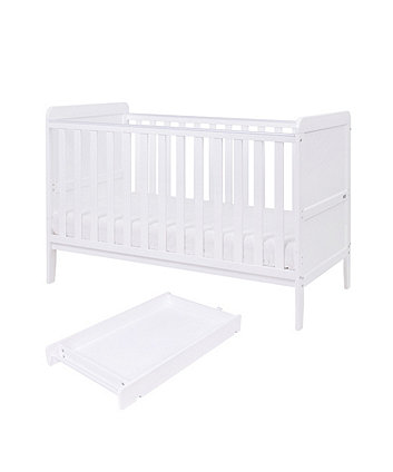 rio cot bed with cot top changer & mattress - white
