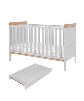 rio cot bed with cot top changer & mattress - dove grey/oak