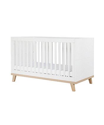 Little Acorns genoa cot bed - white and birch