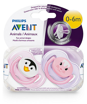 Philips Avent 0-6m classic rabbit/penguin soother (2 pack)