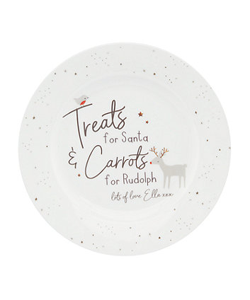 personalised santa and rudolph bone china plate