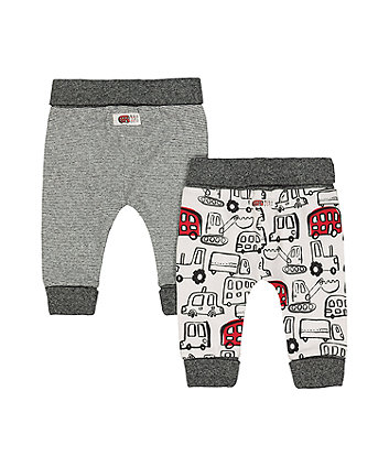 bus and stripe joggers - 2 pack
