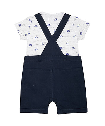 navy woven bibshorts and dinosaur bodysuit set