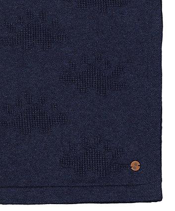 dinosaur navy knit shawl