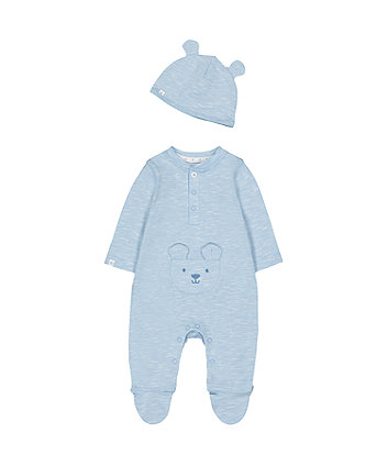my first blue bear all in one and hat set