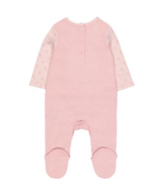 my first pink bear mock frill top all in one