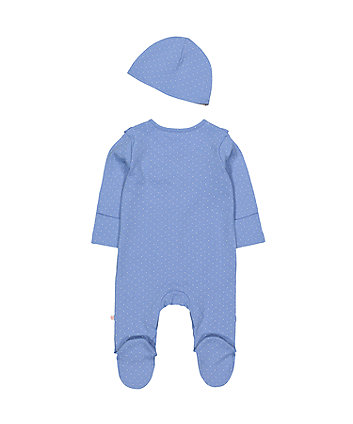 blue ruffle spot all in one and hat set