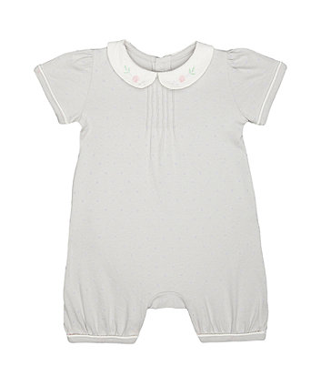 peter pan grey spot romper