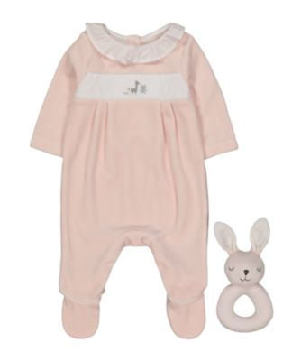 pink velour all in one and bunny rattle set