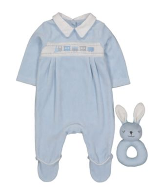 blue velour all in one and bunny rattle set