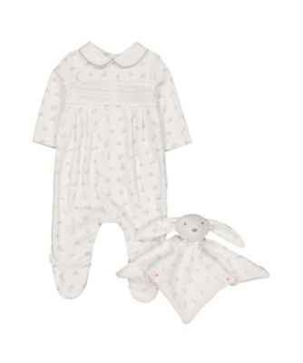 white and grey all in one and bunny comforter set