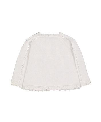 white pointelle knit cardigan