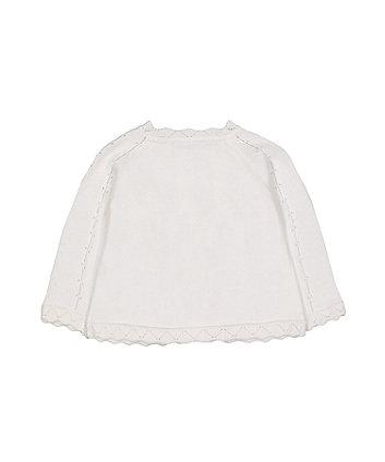 white pointelle knit cardigan