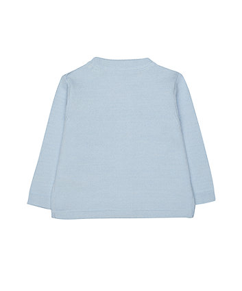 blue train cardigan