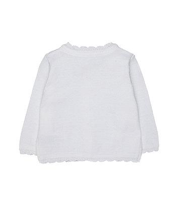 white crochet character cardigan