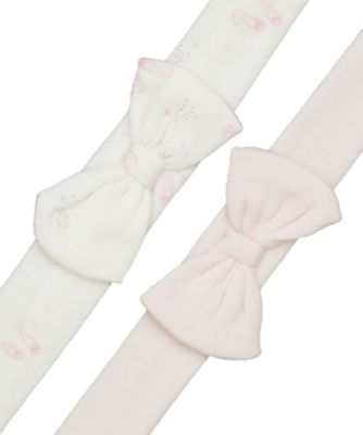 bow and pink baby headbands - 2 pack