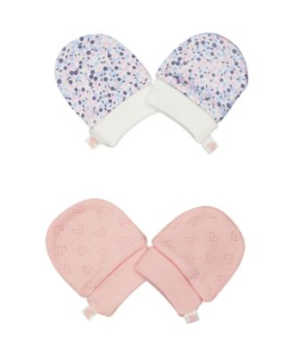 pink and floral scratch mitts - 2 pack