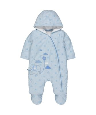 my first elephant and stars blue velour pramsuit
