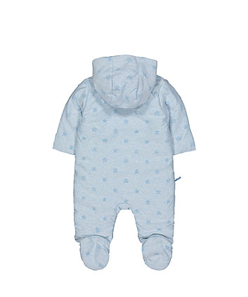 5d0e04212 my first elephant and stars blue velour pramsuit
