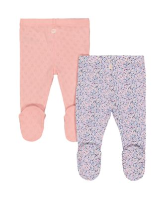 pink pointelle and floral leggings - 2 pack