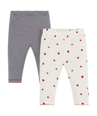 striped and print leggings - 2 pack