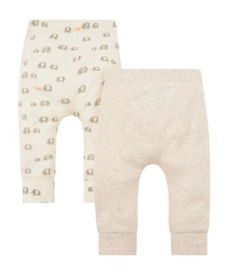 hello elephant and plain ribbed leggings – 2 pack