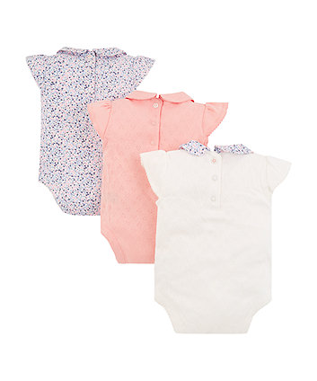 pointelle and floral bodysuits - 3 pack