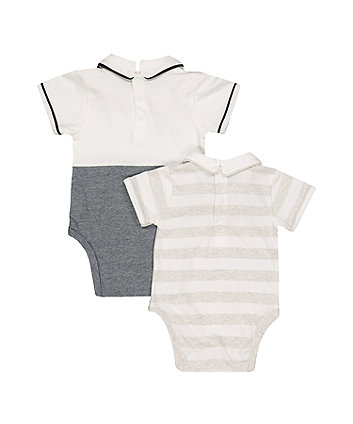 boat and stripe collared bodysuits – 2 pack