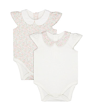 floral and white collared bodysuits – 2 pack