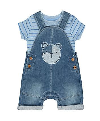 my first bear denim bibshorts and bodysuit set