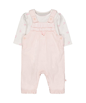 my first pink cord dungaree and bodysuit set