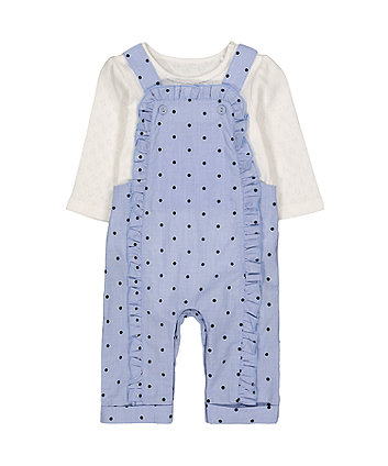 blue polka dot dungarees and bodysuit set