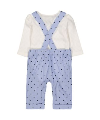 blue polka dot dungarees and bodysuit set