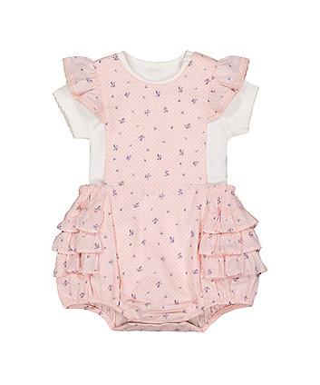 9d23791c6e9 pink ditsy bibshorts and bodysuit set