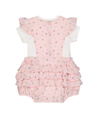 pink ditsy bibshorts and bodysuit set