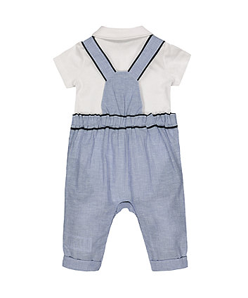 boat dungarees and white bodysuit set