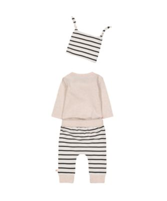 grey bodysuit, striped joggers and hat set