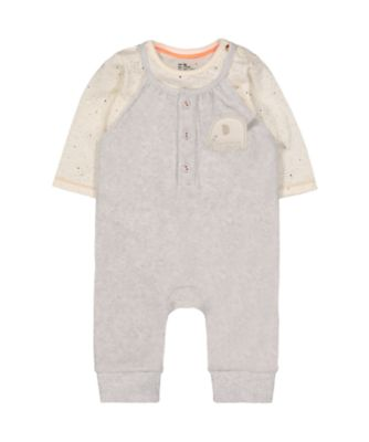 grey velour elephant dungarees and bodysuit set