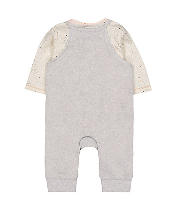 grey velour elephant dungarees and bodysuit set