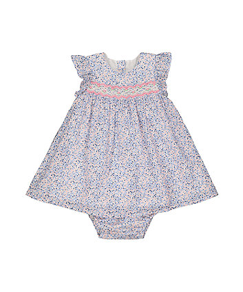 blue ditsy smock dress and bloomer set