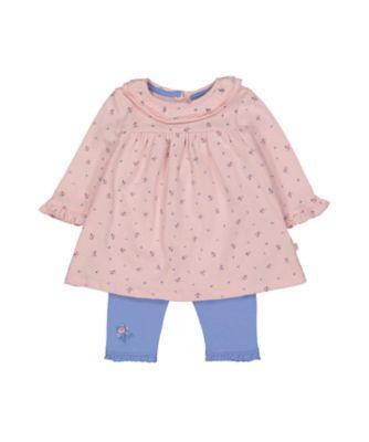 ditsy dress and leggings set