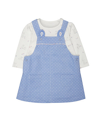 spotty pinny and bodysuit set