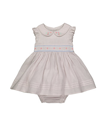 grey smocking dress