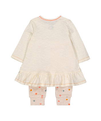 elephant, star and spot dress and leggings set