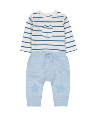 my first blue bunny bodysuit and star joggers set