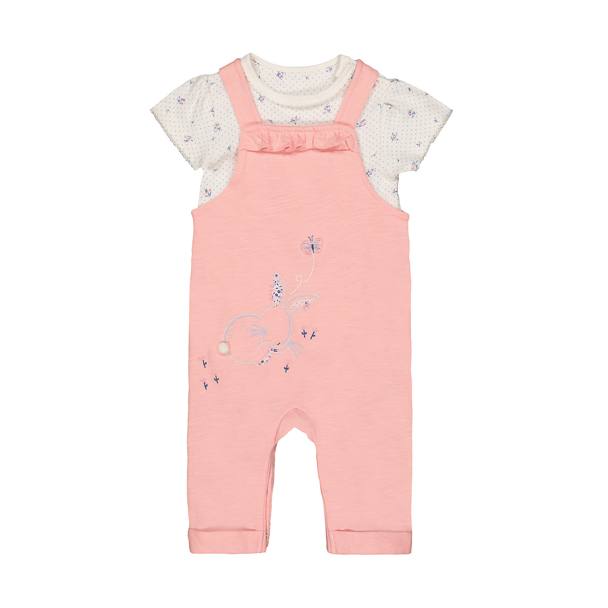 light pink bunny and flowers bodysuit and dungarees set